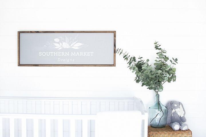 12x36 Nursery Sign Mock Up Wood Frame Styled Photography