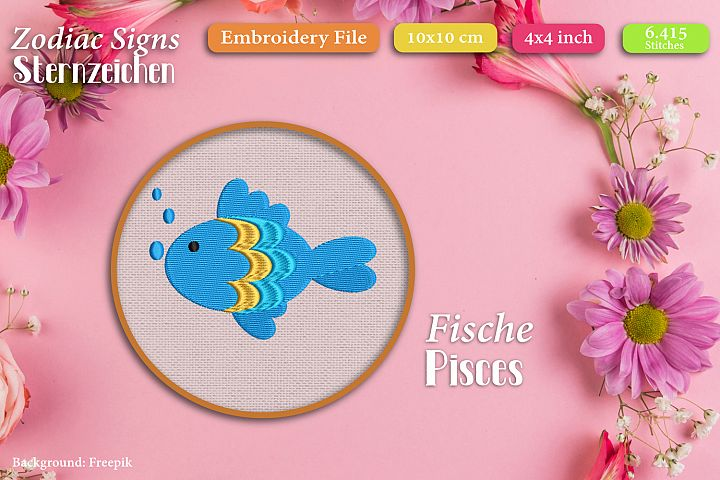 Zodiac sign - Pisces - Embroidery Files