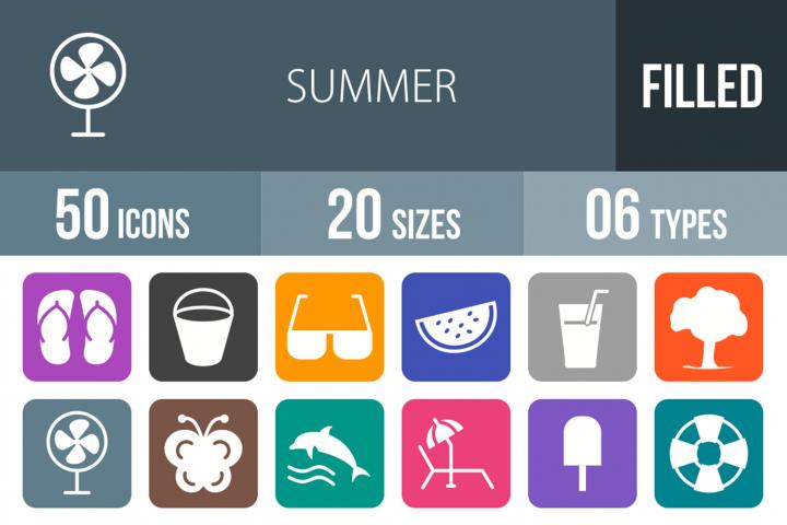 50 Summer Filled Round Corner Icons