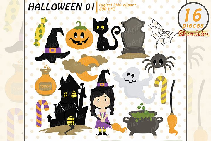 Halloween clipart package, Trick or Treat, Cute spooky art