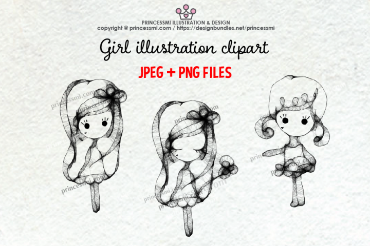GIRLS illustration clipart 4