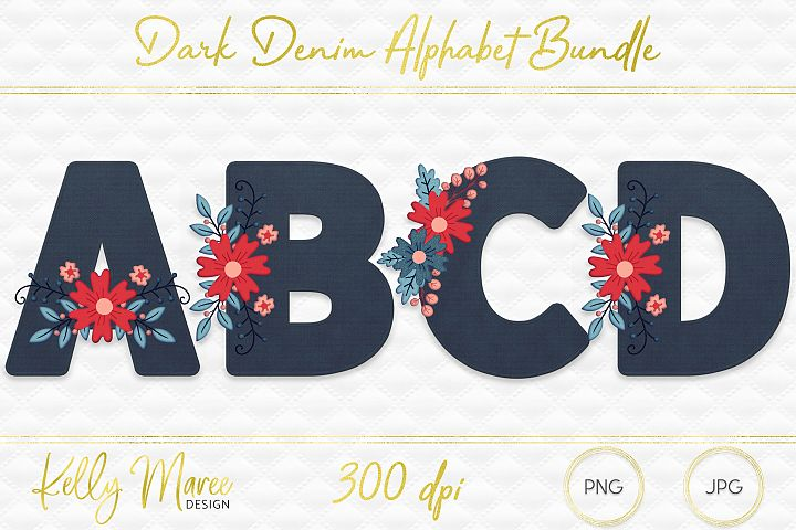 Dark Denim & Floral Alphabet Graphic Bundle