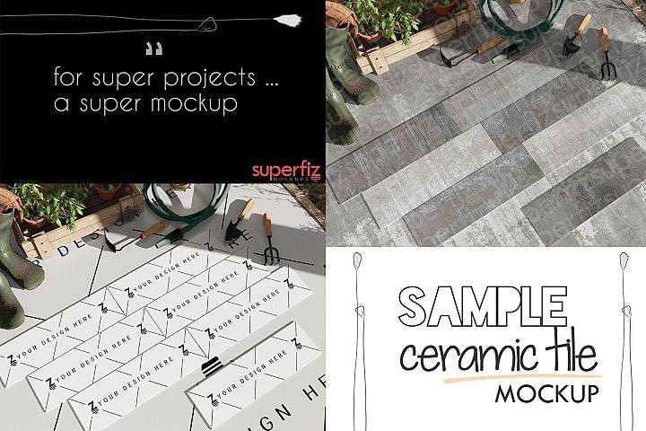 Sample Parquet Ceramic Tile Mockup PSD SM94R