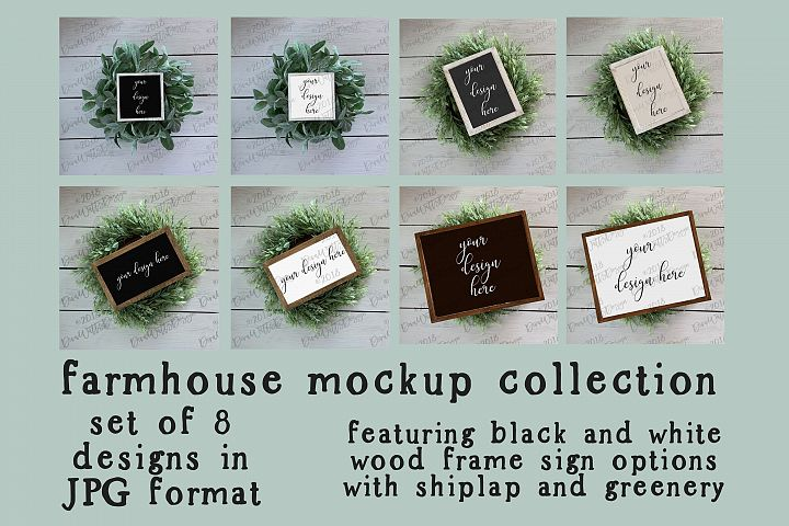 Farmhouse Wood Sign Mockup Mock-up Collection with Shiplap