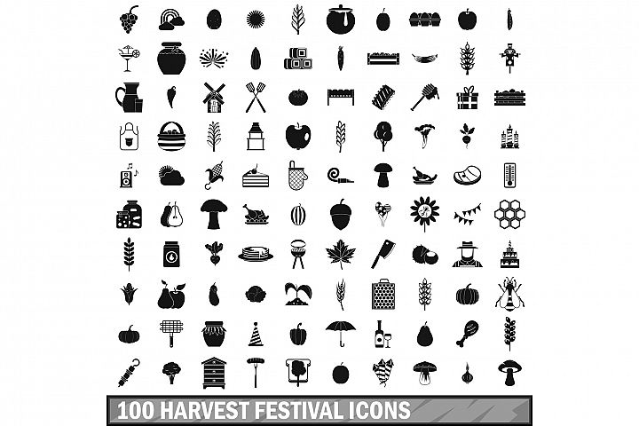 100 harvest festival icons set, simple style