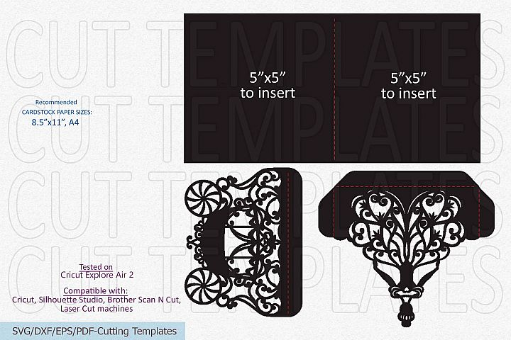 Princess 5x5 trifold envelope wedding invitation laser cut example image 9