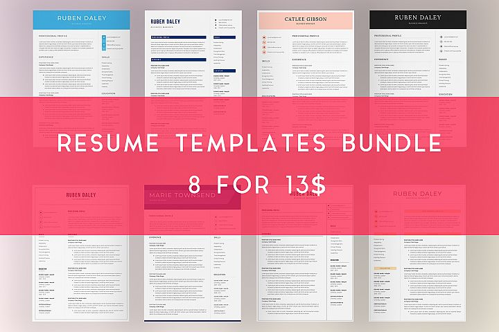 Resume Template Bundle | 4 Pages and Cover Letter
