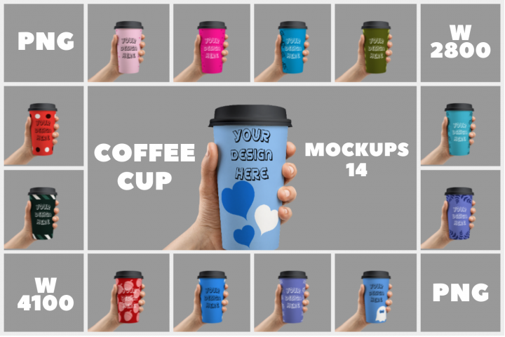 Coffee Cup Holding Mockups - 14 | PNG