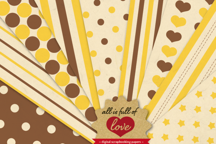 Honey Vintage Background Patterns In Brown And Yellow Digital Paper Pack With Stripes Dots Stars And Hearts 24070 Backgrounds Design Bundles