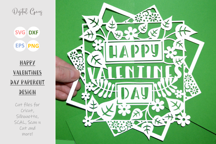 Happy Valentines Day paper cut design SVG / DXF / EPS files