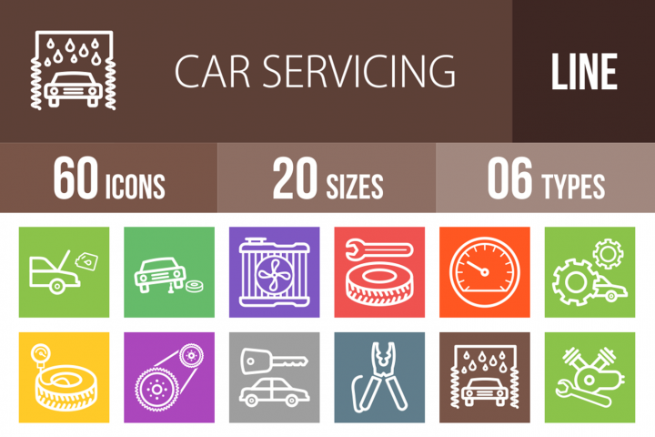 60 Car Servicing Line Multicolor B/G Icons
