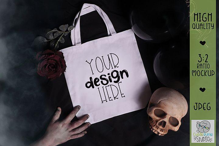 Halloween Mockup Zombie Grab|Canvas Tote Bag Mockup