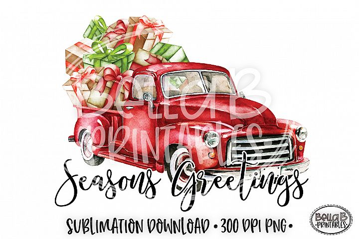 Christmas Sublimation Design, Seasons Greetings Sublimation