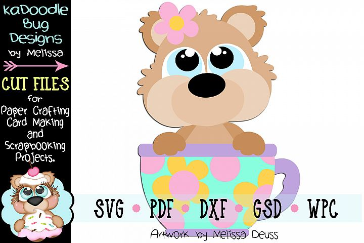 Spring Teacup Bear Cut File - SVG PDF DXF GSD WPC