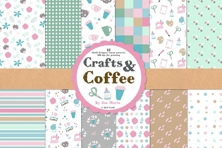 Crafts and Coffee seamless pattern and clipart