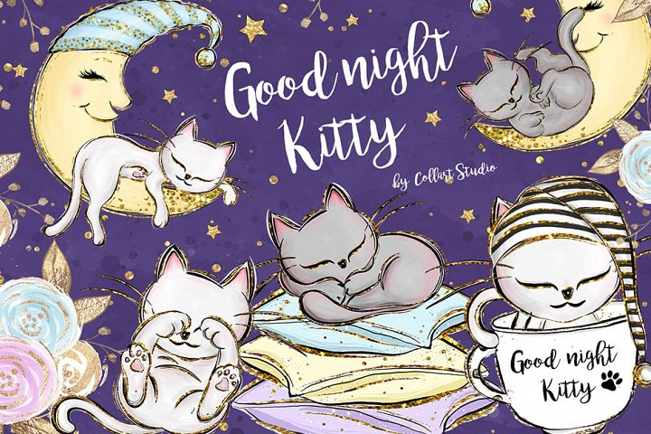 Kittens Clipart, Cute Cats Illustrations, Printable Graphics
