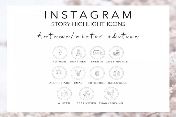 Autumn Fall Winter Instagram Story Highlight Icons