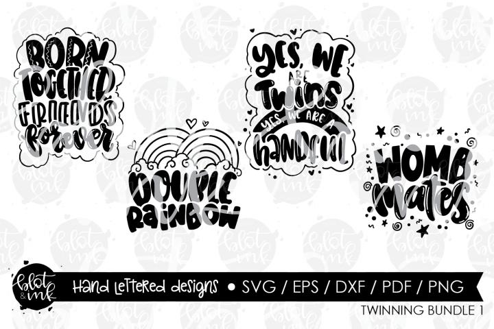Twins Baby SVG Bundle - Hand Lettered Designs - Blot & I