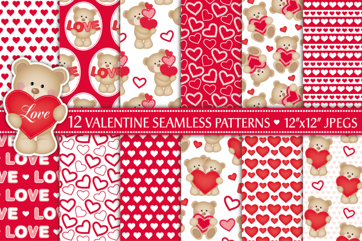 valentine digital papers, valentines patterns, valentine