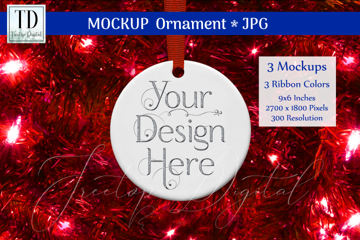 Round Christmas Ornament Mockups, Bauble Mock-Up Red, JPG