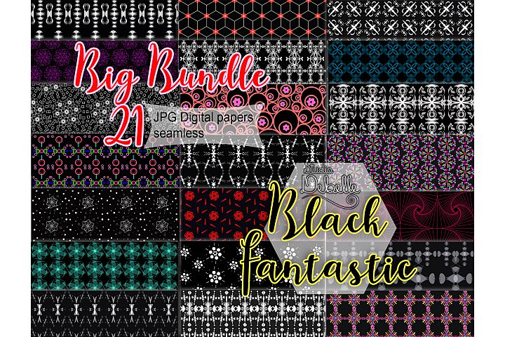 Big Bundle Black Fantastic - digital papers seamless patterns