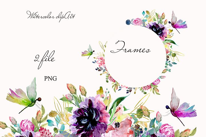 Watercolor flowers frames clipart design invitation