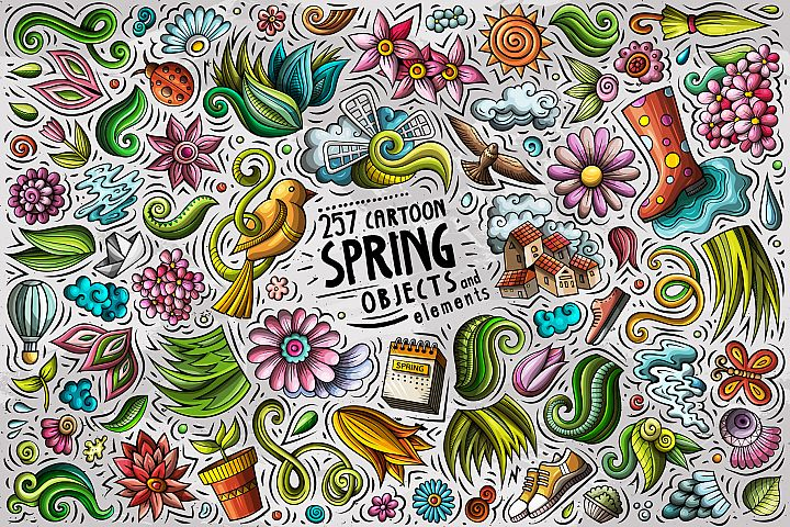 Spring Cartoon Vector Objects Set
