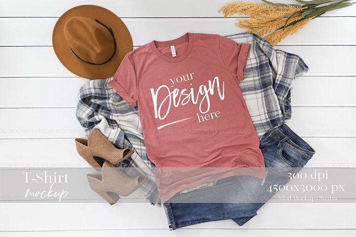TShirt Mockup MAUVE TRIBLEND | 3413 Bella and Canvas Mockup
