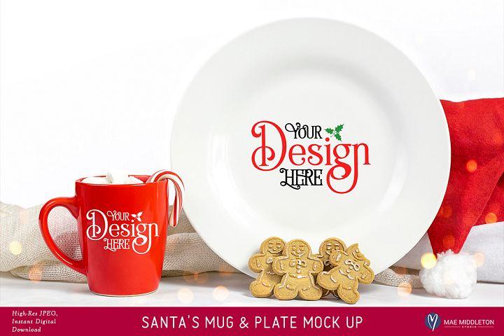 Christmas Mock Up - Santa Red Mug & Plate Mock Up