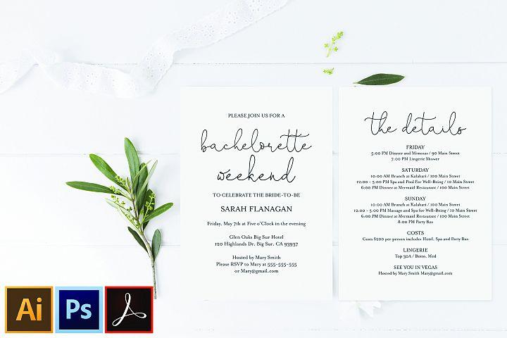 Editable PDF Bachelorette Invitation Card Welcome Bag