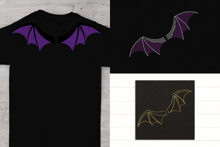 Bat Wings SVG File TRIO Including Sketch & Rhinestone