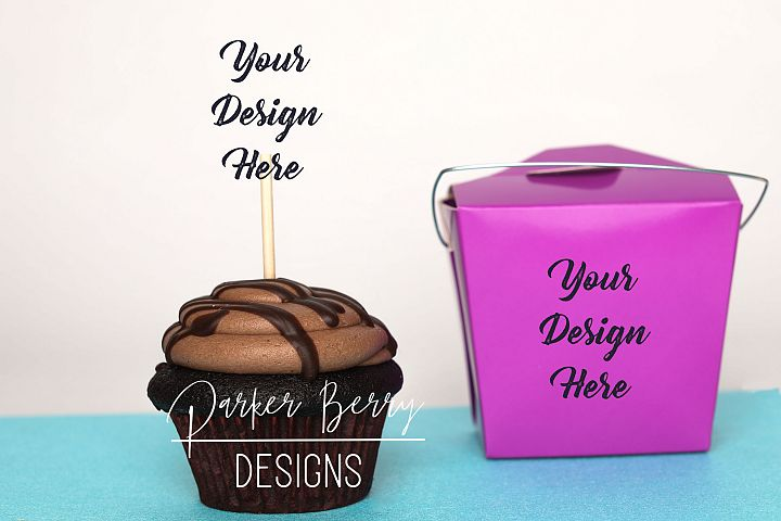 Chocolate Cupcake Mock up Topper, Purple Takeout Box Mockup