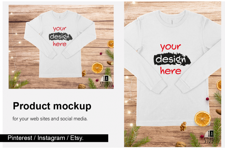 Christmas Long Sleeve Tee Mockup / Bella Canvas 3501 / White