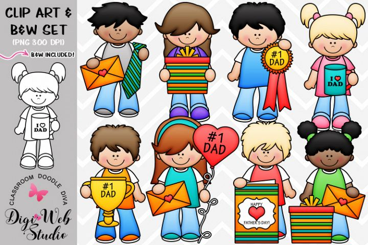Clip Art / Illustrations - Fathers Day Kids