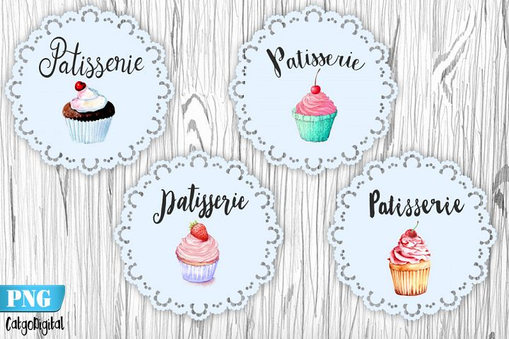 French Patisserie PNG Clip Art Watercolor Patisserie