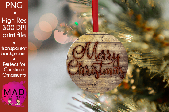 Merry Christmas - Rustic Wood Slice Christmas Ornament
