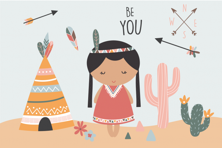 Tribal girl paper and clipart set
