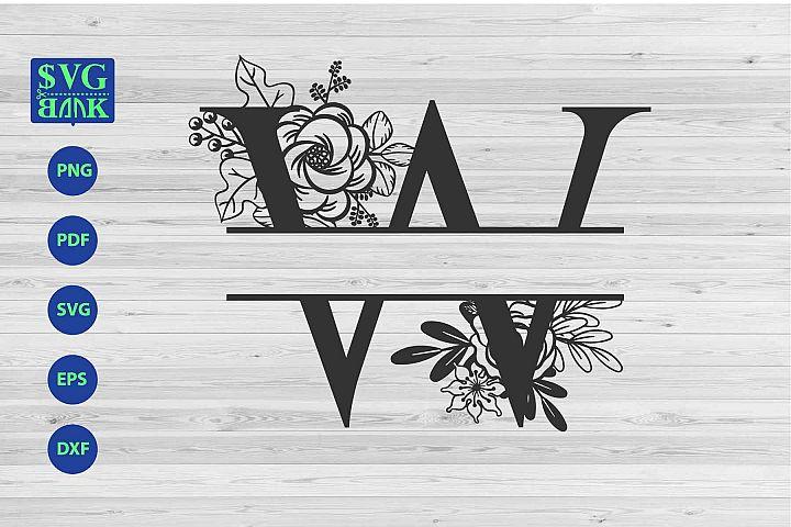 Split monogram letter W Svg, Alphabet floral initial logo W