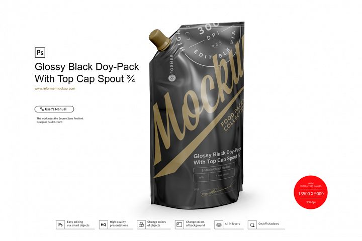 Glossy Black Doy-Pack With Top Cap Spout