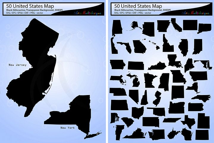 united states map vector 50 / Usa map silhouette / SVG / EPS / PNG / Dxf /  united states map clipart / 50SVG