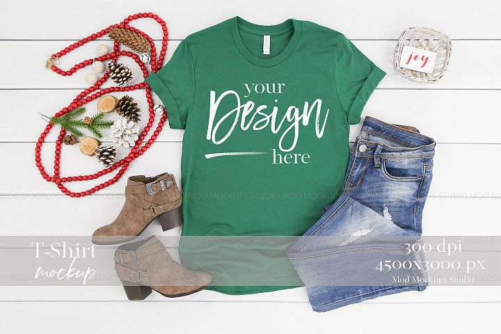 Holiday Mock up EVERGREEN| 3001 Bella Canvas Mockup