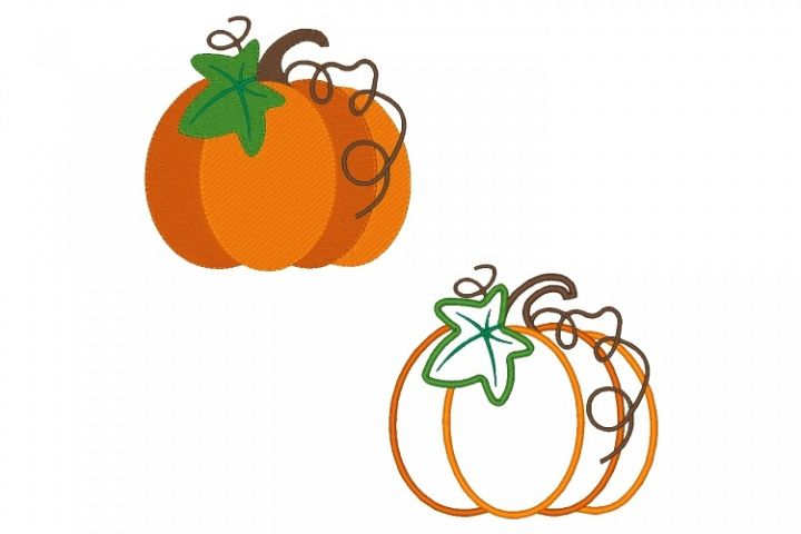 Pumpkin Embroidery Design Set of 2 Fall Embroidery
