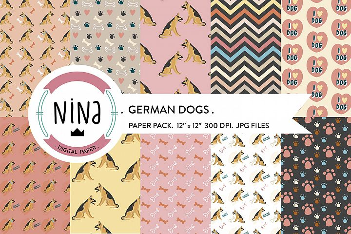 German dogs digital paper pack, Dogs wrapping paper