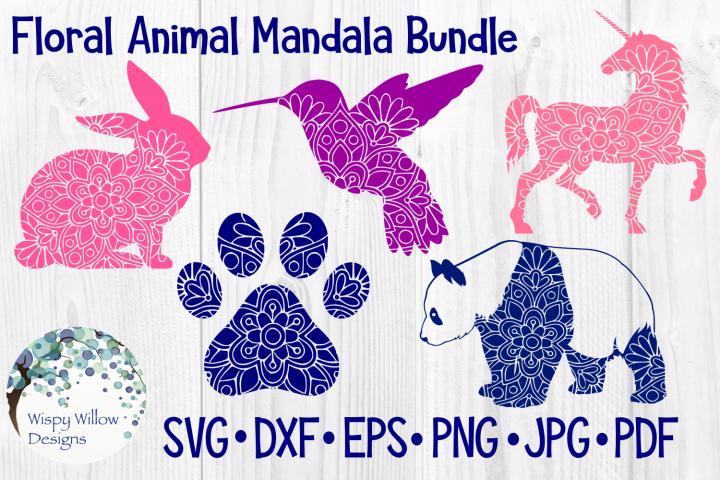 Floral Animal Mandala SVG Bundle |Unicorn, Bird, Panda, Paw