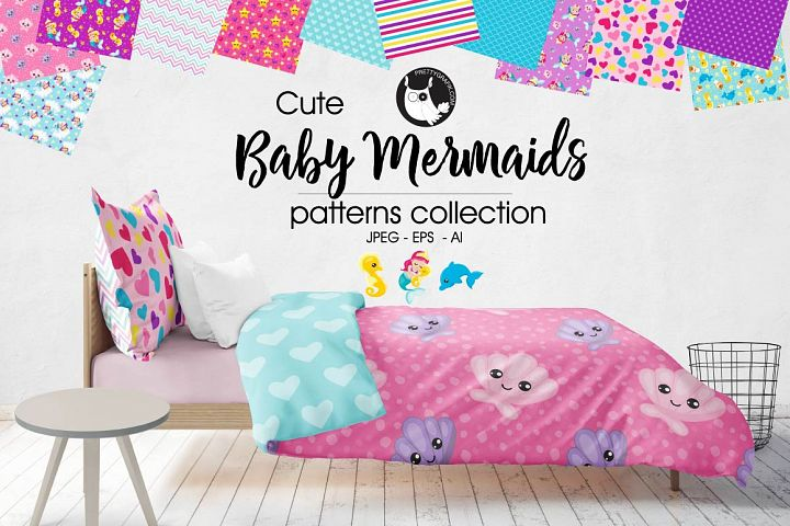 BABY-MERMAIDS, digital papers