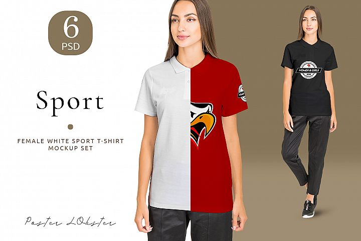 Female Sport T-shirt mockup set