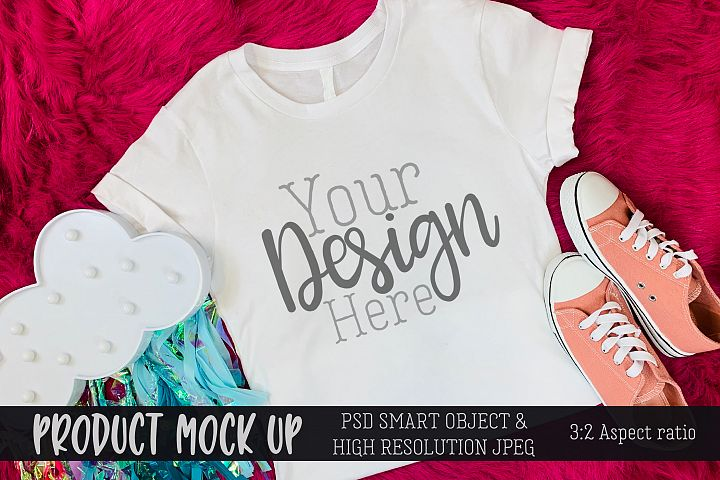 Youth shirt pink Craft MOCKUP | PSD & JPEG