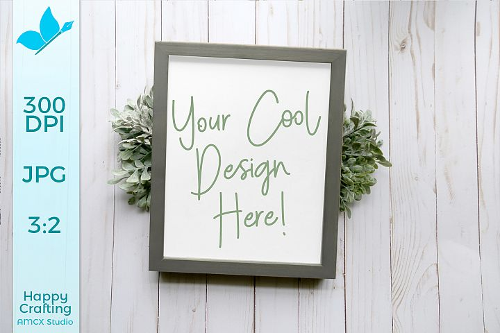 Grey Wooden Sign Mock UP