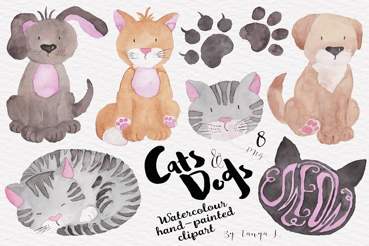 Cats and Dogs Watercolor Clipart
