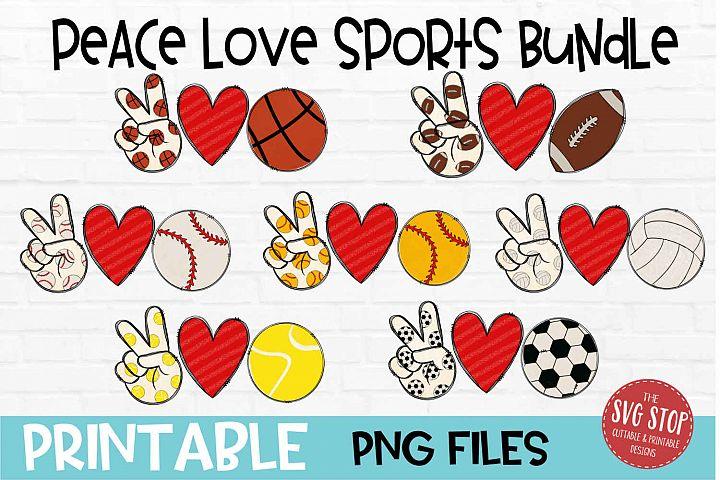Peace Love Sports Bundle Sublimation Design PNG